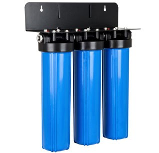 Blue home water filter tanks installed in a mount
