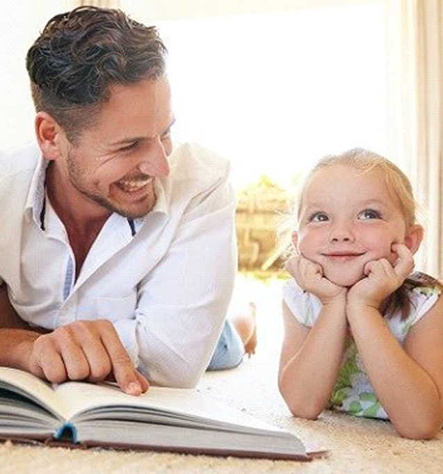 Man Reading Book to Kid